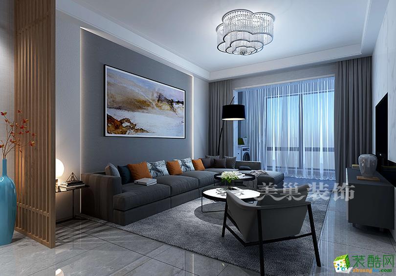海马公园70平一室一厅户型现代简约风格装修效果图