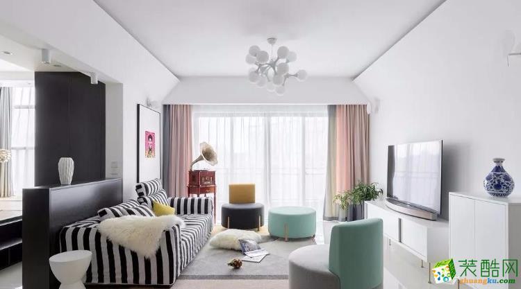 乐山艺创装饰-88平米两居室简约风格装修案例