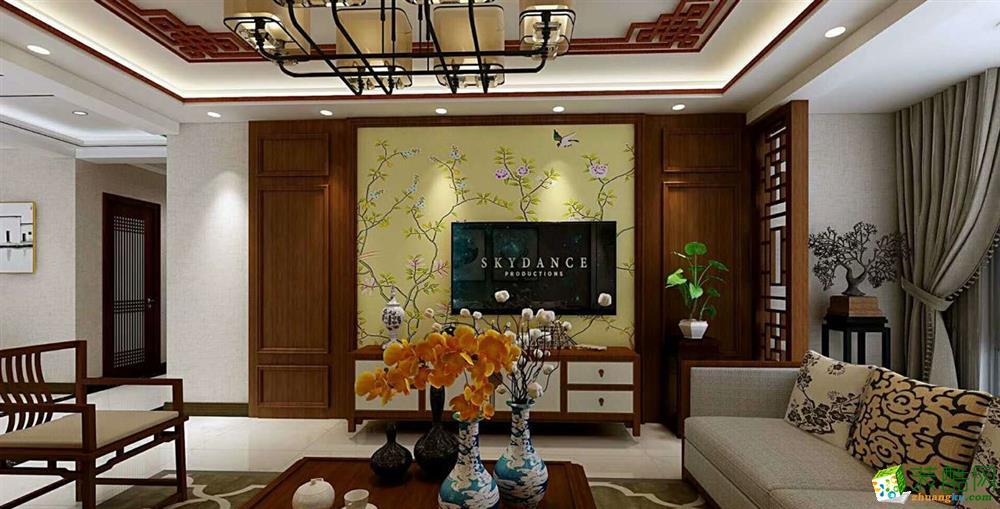 保利香槟国际三居两厅新中式风格装修效果图