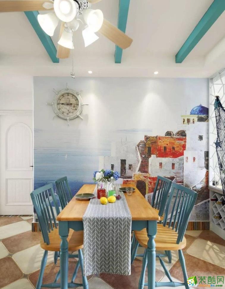 仕邦装饰-98平二居室地中海装修效果图
