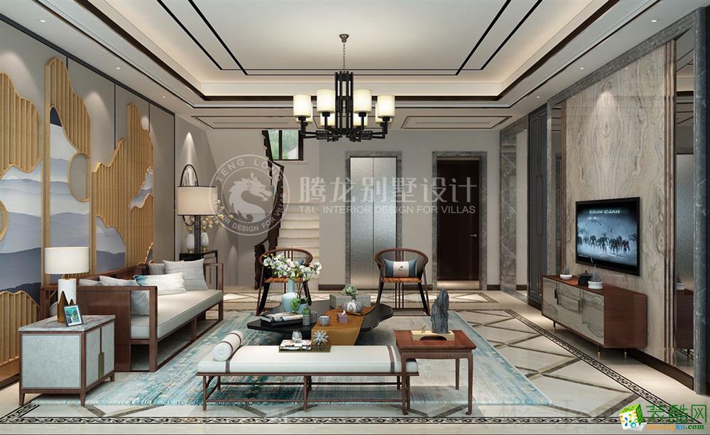 颐湾丽庭315平别墅装修新中式设计