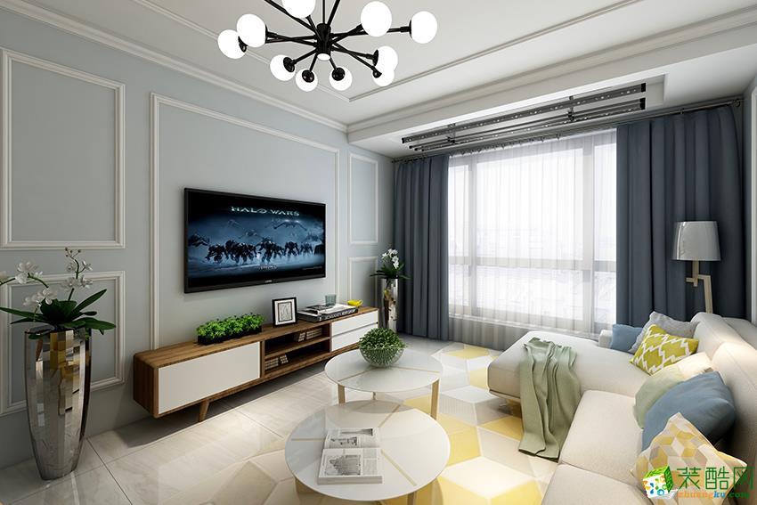 >> 郑州90平三室一厅一卫北欧风格装修效果图