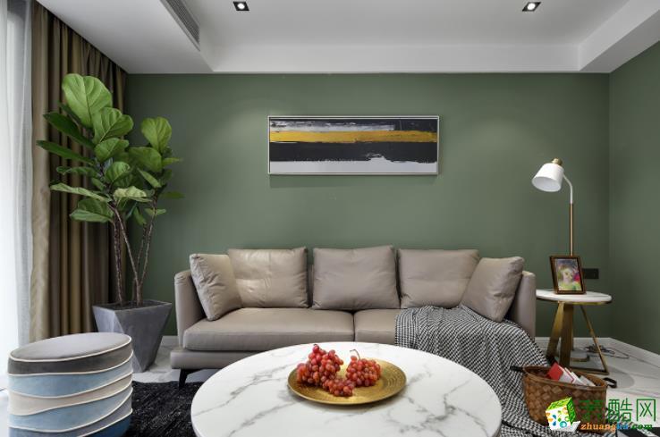 龙鳞装饰117�O三居室时尚现代风格装修效果图
