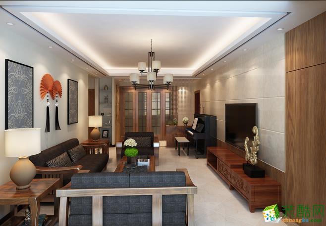 天津市滨海新区98�O三居室中式风格装修案例图