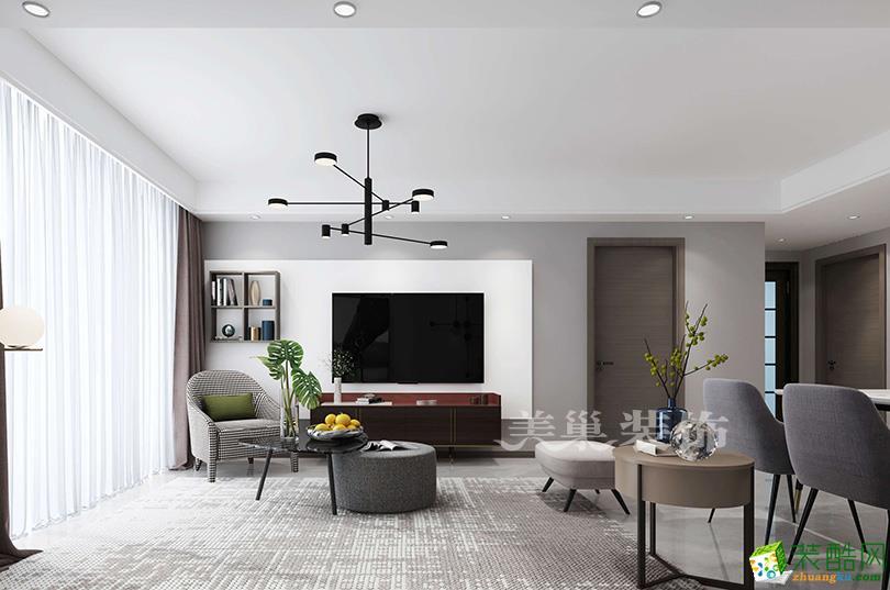 郑州正商智慧城130平三室两厅户型装修效果图——现代简约风格电视