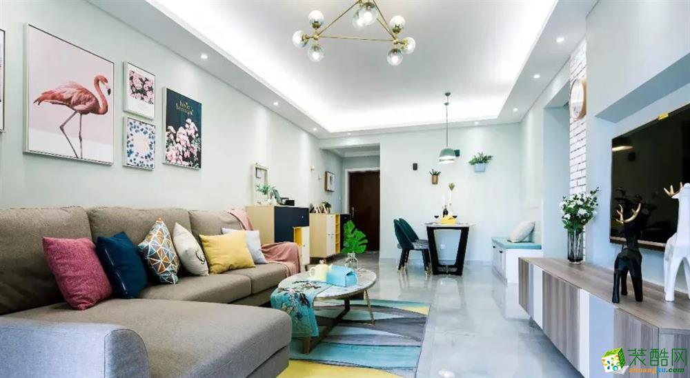 昆明雙城際76㎡兩居室北歐風格裝修