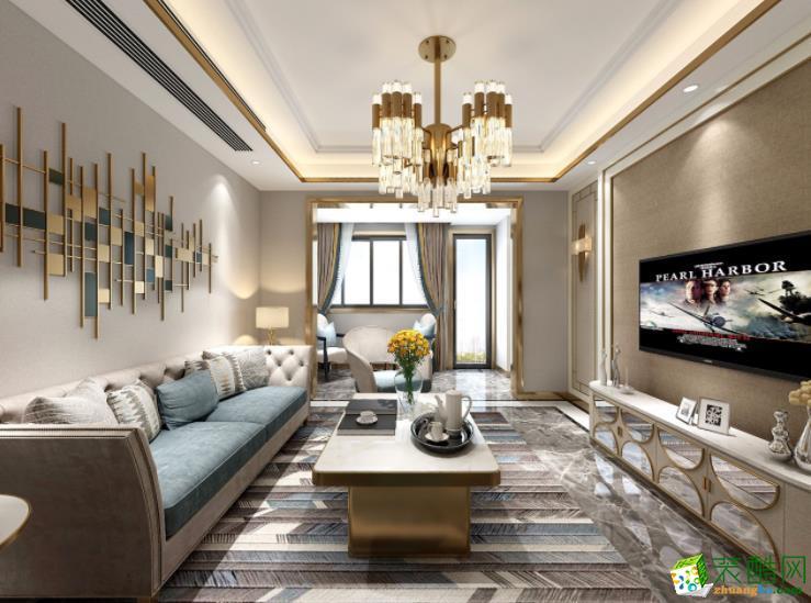 联度装饰―轻奢风120�O三居室装修案例图