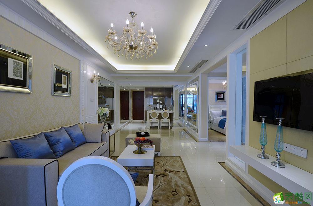 海口两室两厅装修-72平米简欧风格装修案例-成天艺装饰