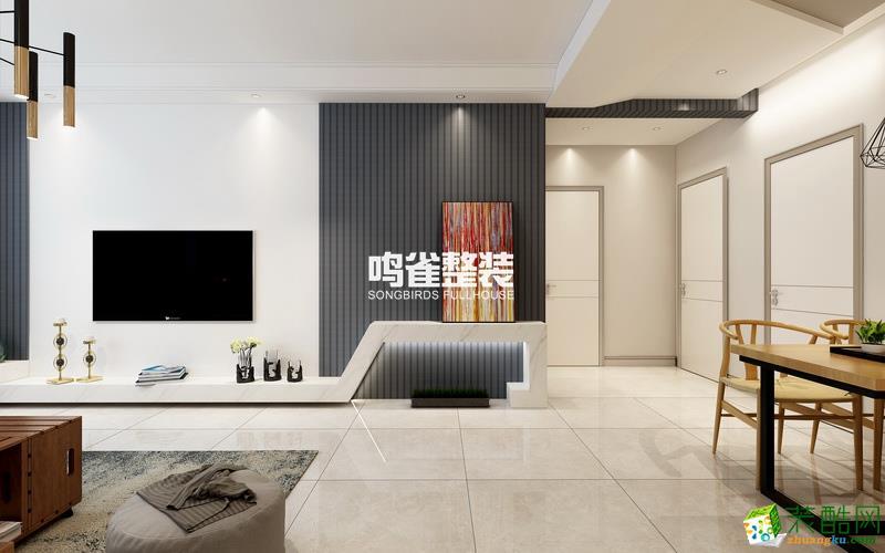 水木清华93㎡两室一厅一卫现代风格设计效果图