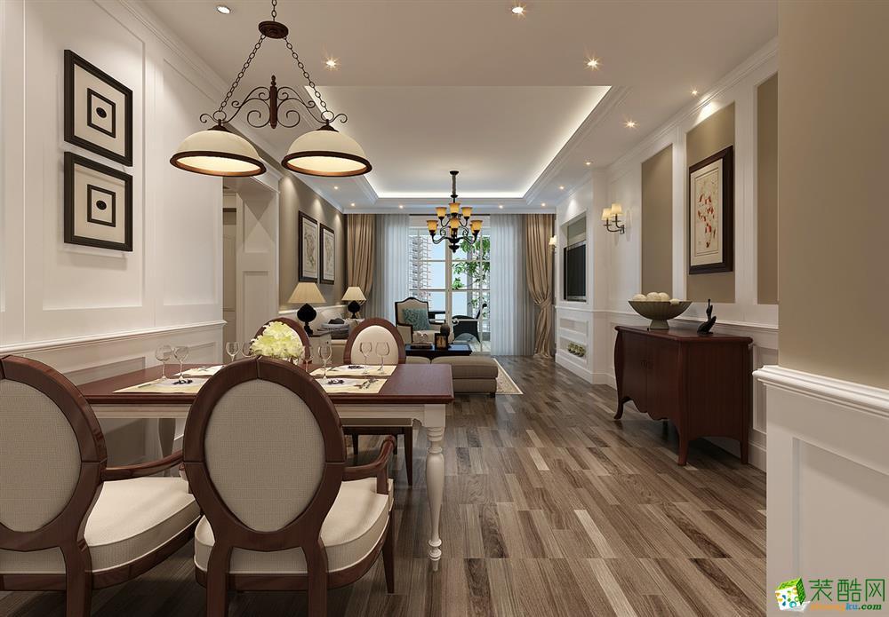 郑州125平三室两厅一卫美式风格装修效果图