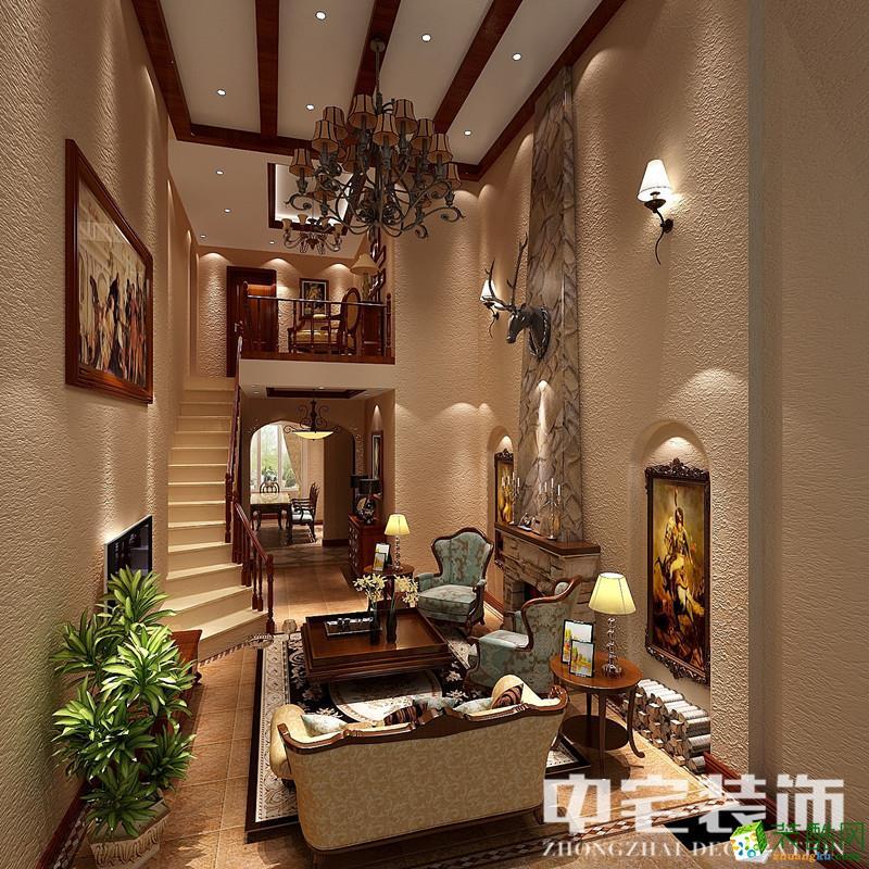 海口别墅装修-300平米美式风格别墅装修案例图-中宅装饰
