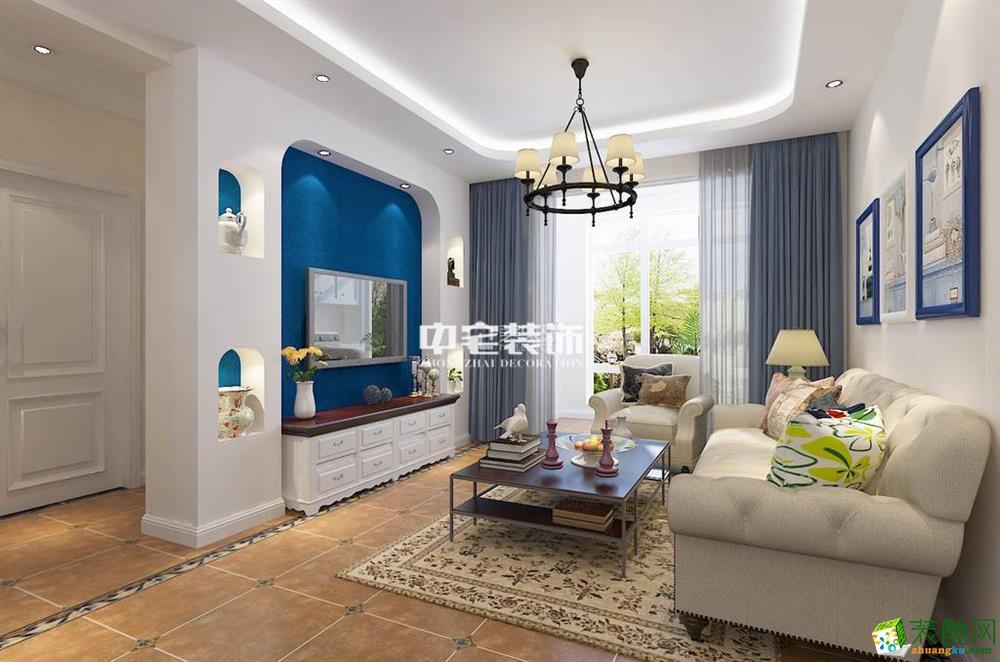 海口两室两厅装修-80平米地中海风格装修案例图-中宅装饰