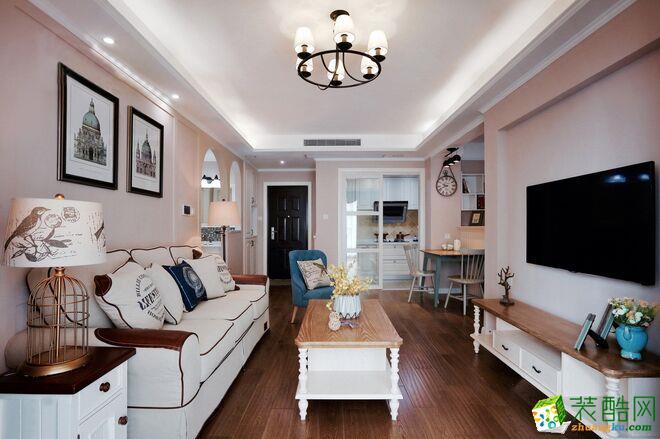 海口两室两厅装修-76平米美式风格装修案例图- 中宅装饰