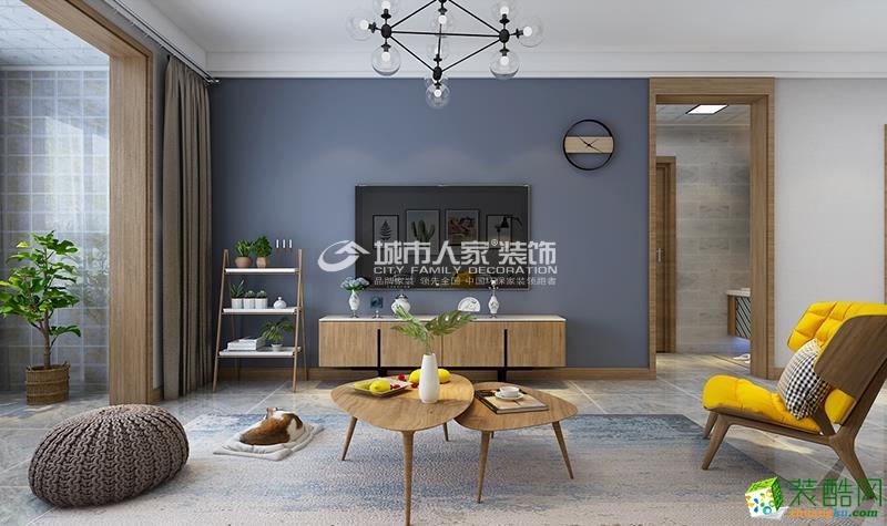 富力城八号园122平北欧风:三室装修设计方案效果图