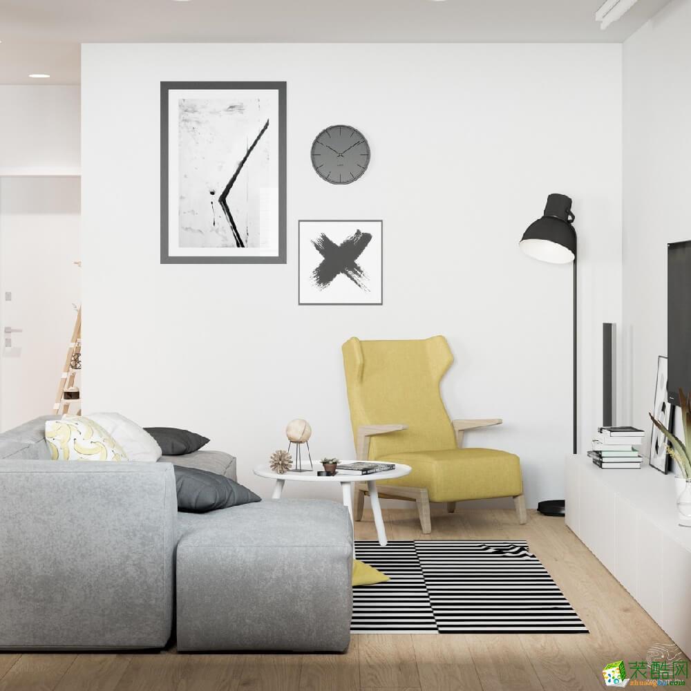 上饶三室两厅装修-96平米北欧风格装修效果图-汇巢装饰