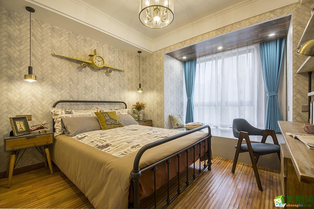 苏州110�O三室一厅经典美式风格设计作品