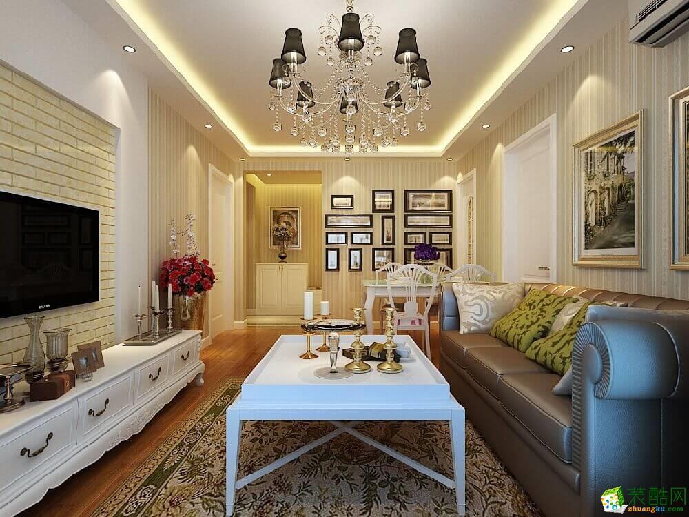 大足三室两厅装修-110平米简欧风格装修效果图-鼎轩装饰