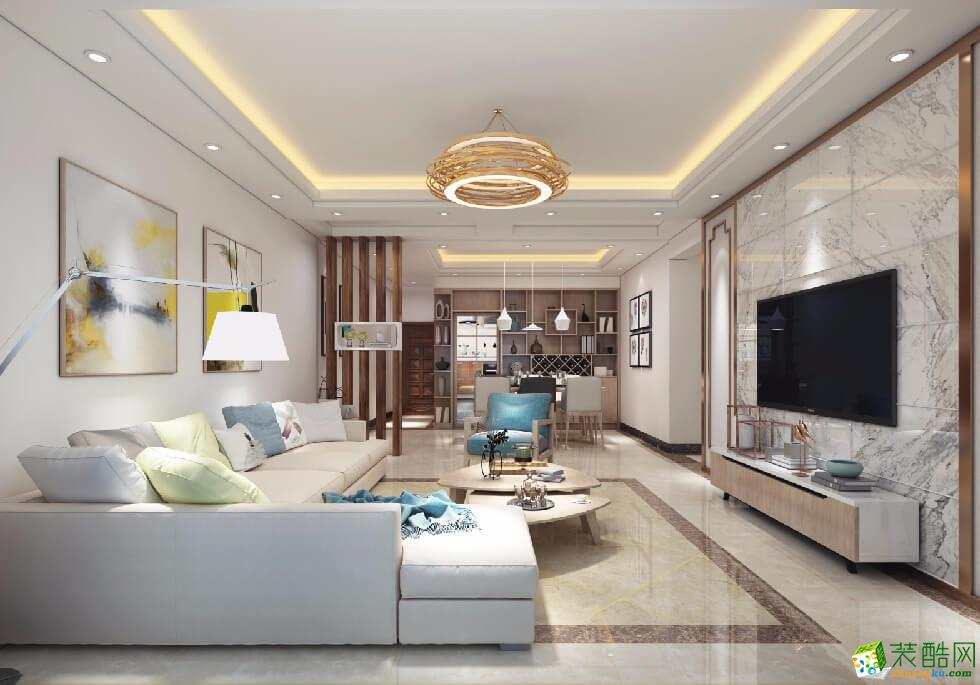 大足三室两厅装修-110平米现代风格装修案例图-美的家装饰