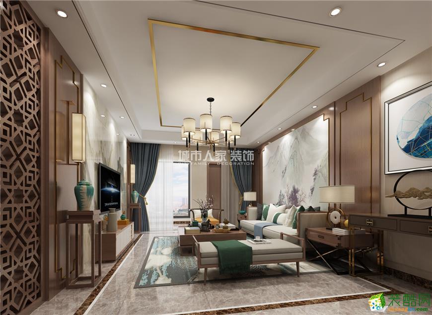 保利心语花园132�O新中式风格三居室装修效果图案例