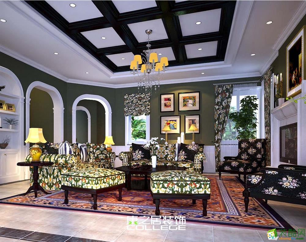 香逸熙园复式洋房美式风格装修案例设计