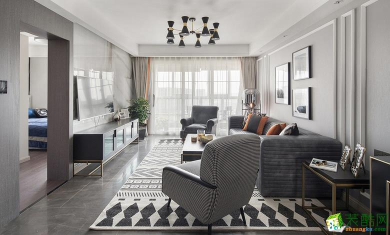 鄂州118�O三室两厅一卫美式轻奢风格作品