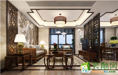 魯班裝飾-130㎡現代中式三房裝修案例