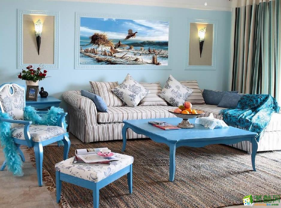 重庆三室两厅装修-120平米地中海风格装修效果图-聚芒装饰