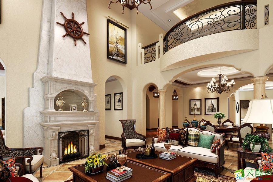 上海别墅装修-280㎡美式风格别墅住宅装修案例-骁魅装饰