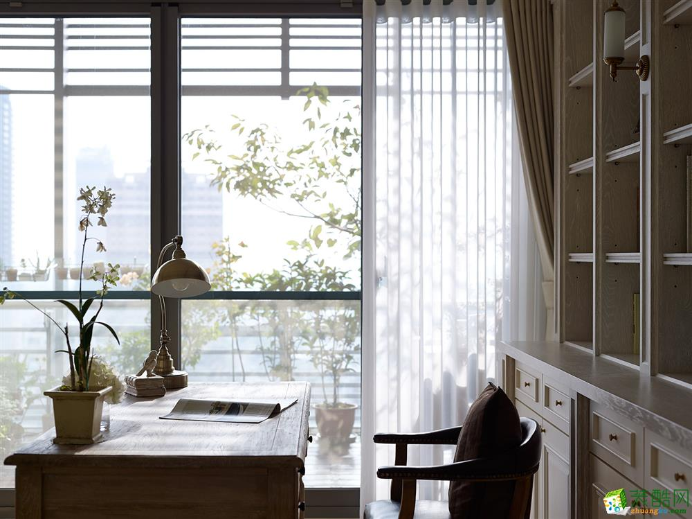 鴻洲建筑裝飾-維科星晨102平美式風格裝修效果圖
