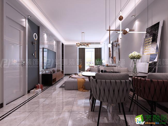 绿地璀璨天城108平三室两厅现代轻奢风格