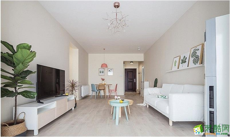 保利公园198简约风格56平米一居室装修案例图片