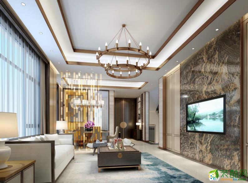抚州海峰装饰-138平米四室新中式风格装修效果图
