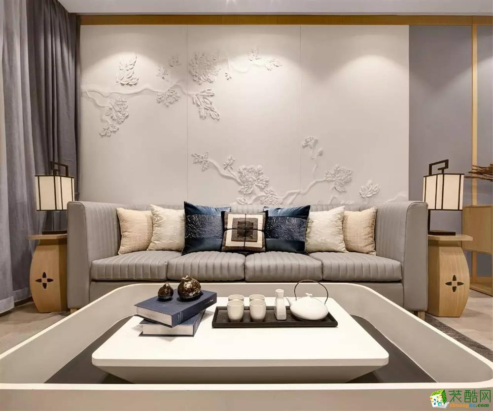 80平米新中式风格两室两厅装修图片