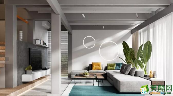 广州三室一厅-90㎡现代简约装修风格效果图-锦艺装饰