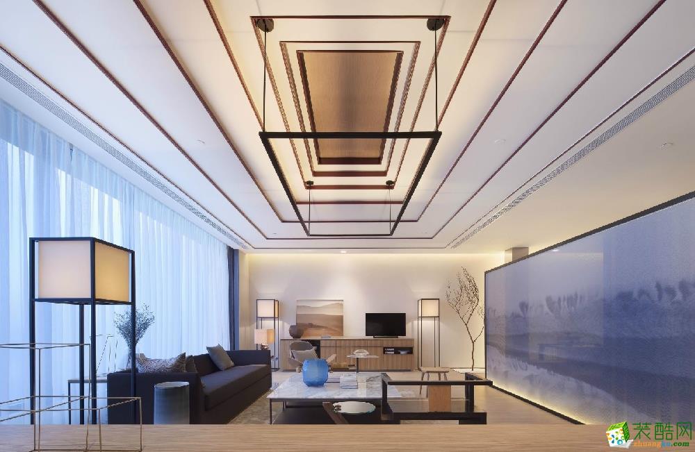 广州一室一厅-86㎡现代中式装修风格效果图-锦艺装饰