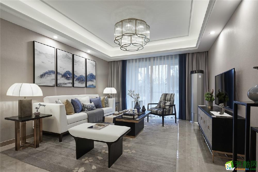 广州两室一厅-97㎡现代中式装修风格效果图--锦艺装饰