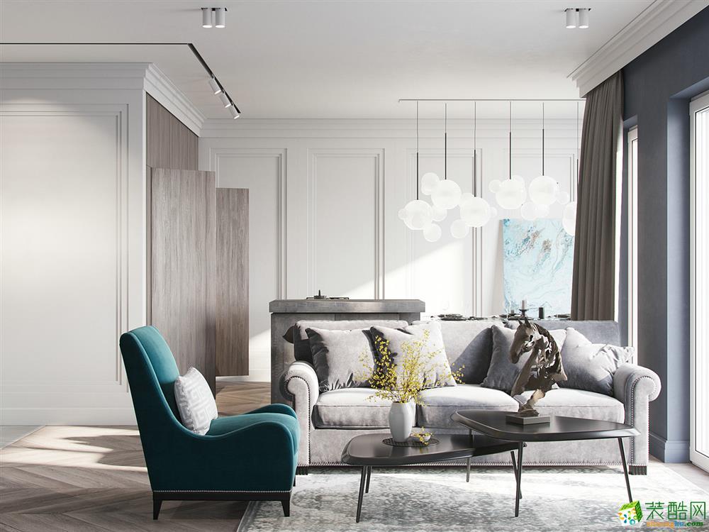 上海130平米现代简约风格三室两厅装修效果图