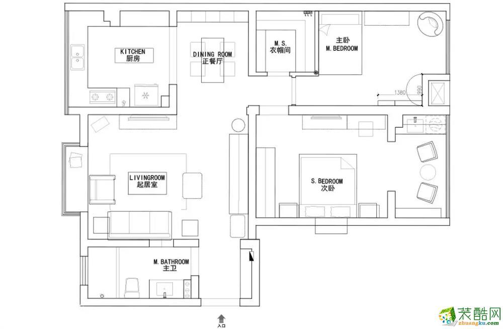 110平米西安中式风格两室装修效果图