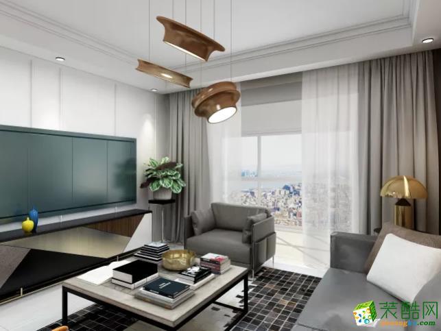 青島兩室一廳-105㎡現代簡約裝修風格效果圖-潤彩飾家裝飾