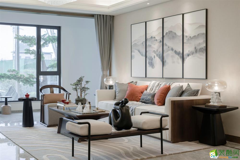 苏州135平中式三室两厅两卫现代风格设计作品