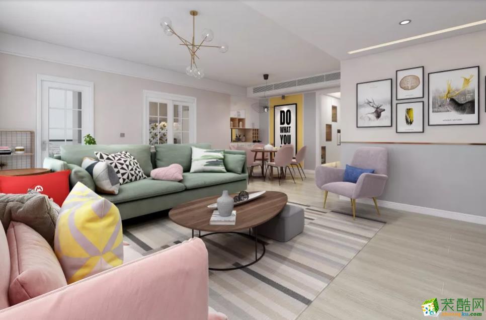 青岛三室两厅-153㎡北欧极简装修风格效果图-润彩饰家装饰