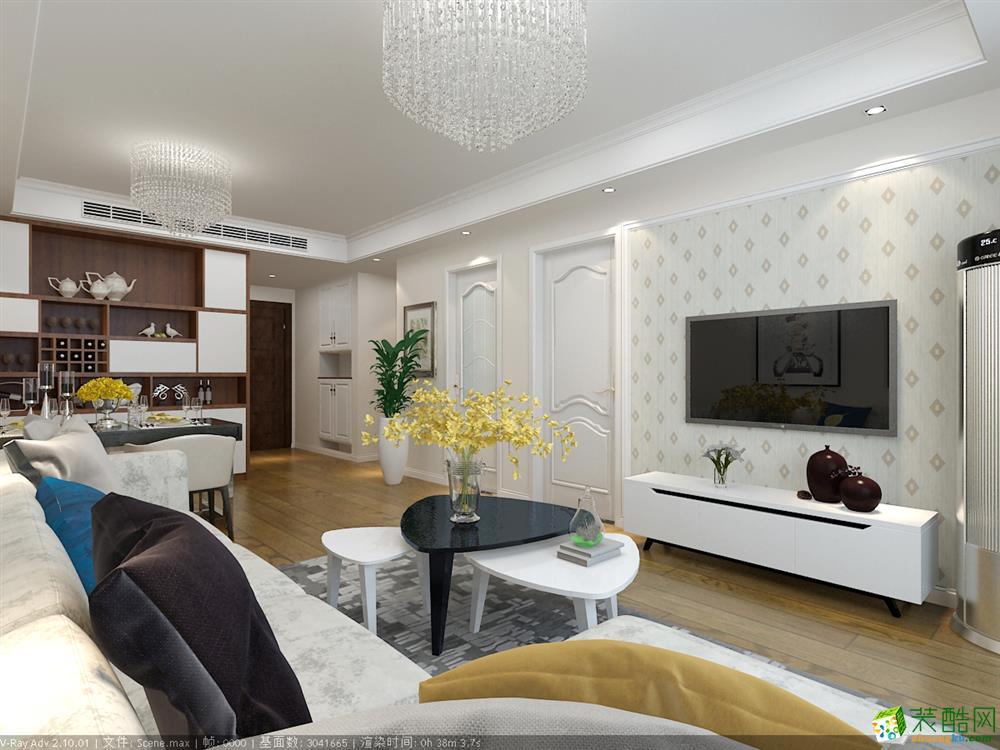 85平現代三居室裝修效果圖