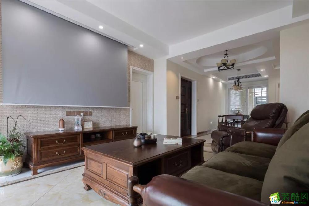 青岛三室一厅-118㎡美式装修风格效果图-益群装饰