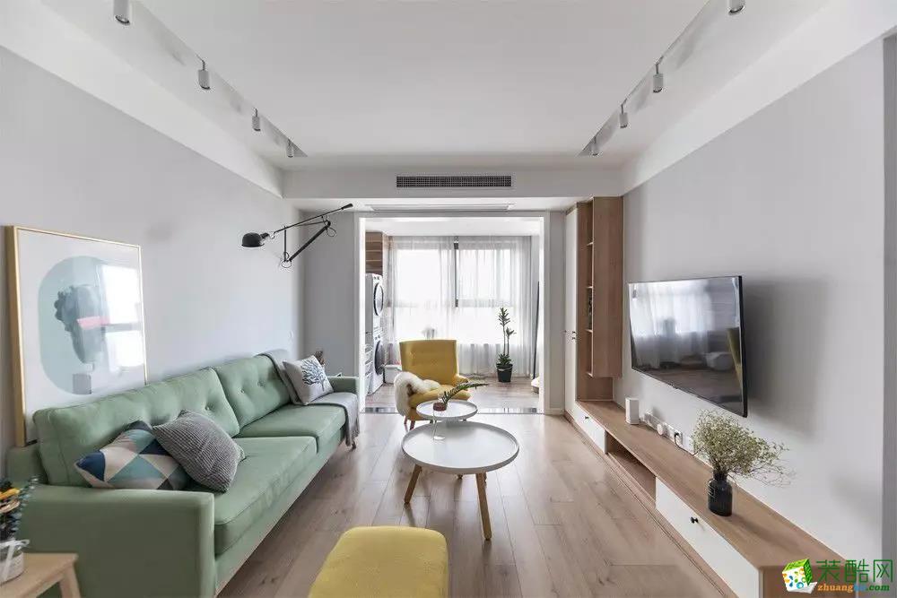 青岛三室一厅-92㎡北欧极简装修风格效果图-益群装饰