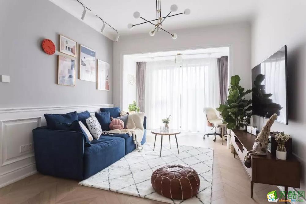 青島兩室一廳-87㎡簡約裝修風格效果圖-益群裝飾