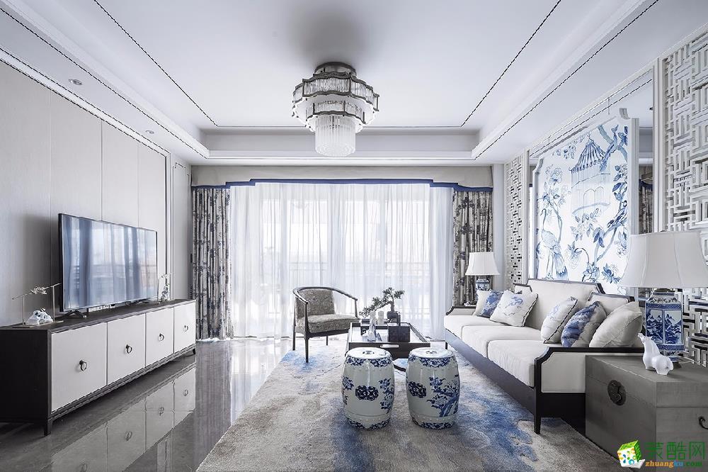 珠海146㎡現代中式三居室裝修效果圖