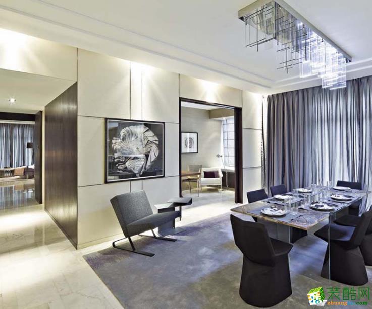 134平米四居室现代轻奢风格装修案例图