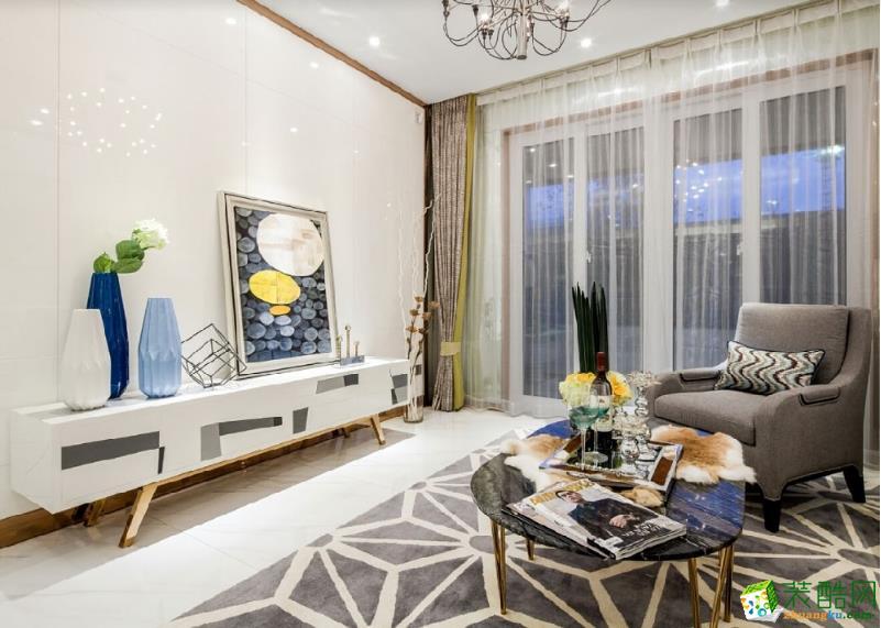 珠海100�O现代简约三居室装修效果图