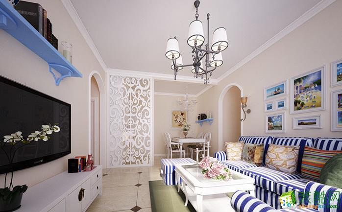 六安香樟公寓140平4室地中海风格装修效果图-家多多装饰