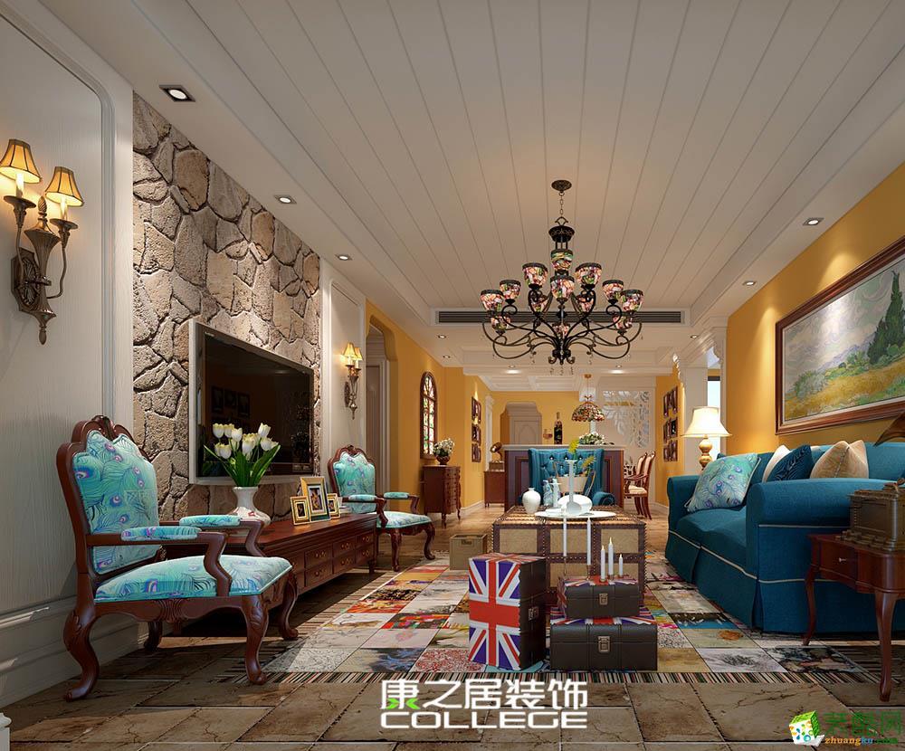 力高雍湖国际125平米四房美式乡村风格设计案例效果图